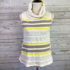 Dolan tank cowl neck knit striped yellow Anthro M